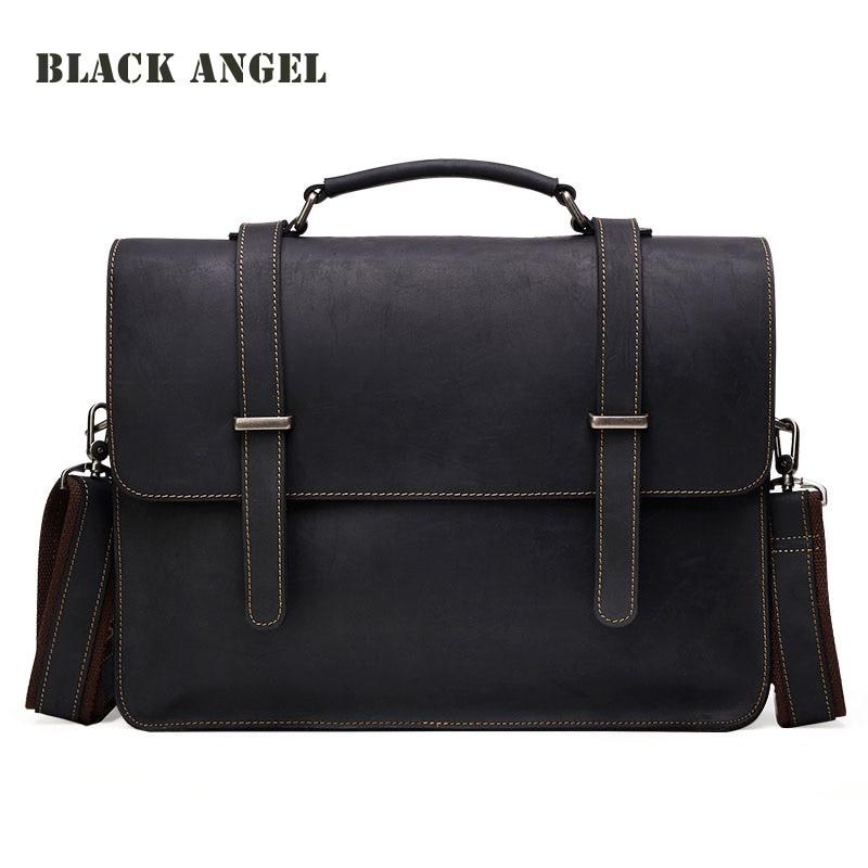 Vintage Cowhide Crazy Horse Leather Men's Briefcase Laptop Business Genuine Leather Messenger Bags Men Shoulder Bag