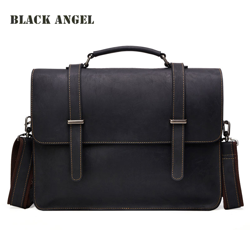 Vintage Cowhide Crazy Horse Leather Men's Briefcase Laptop Business Genuine Leather messenger bags Men Shoulder Bag