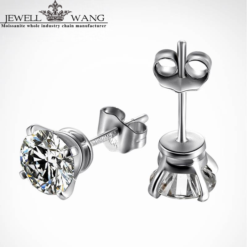Jewellwang 18k White Gold Stud Earrings 1.0ct carat Moissanites Color level J K G I F G D E Trendy for Women Men Unisex Party