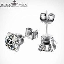 Jewellwang 18k White Gold Stud Earrings 1.0ct carat Moissanites Color level J K G I F G D E Trendy for Women Men Unisex Party