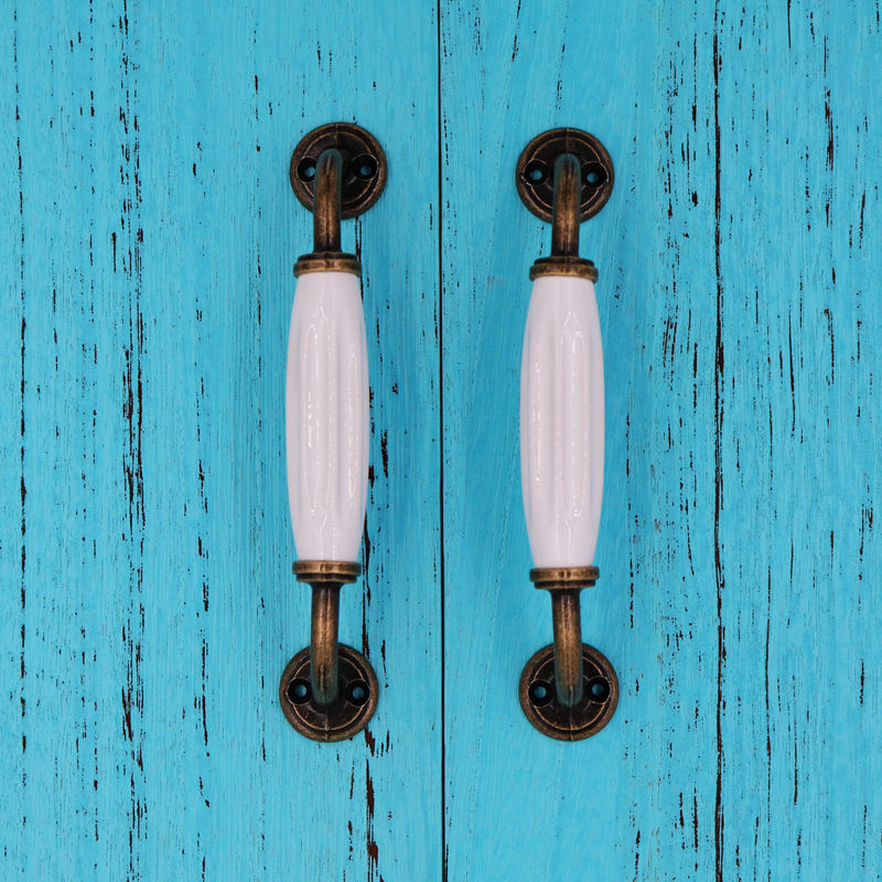 5pcs 20mm Bronze Vintage Antique Cabinet Door Kitchen: 5PCS 128mm Vintage Ceramic Door Handles White Bronze For