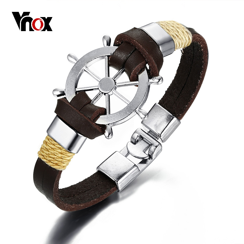 Vnox Rudder Bracelet Bangle Double Layer Genuine Leather Brown Black Color Vintage Seaman Jewelry