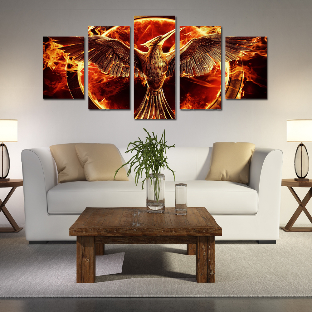 5 Panel Canvas Art Hungry Games Movie Group Painting On Canvas Room  Decoration Picture Mocking Jay Movie Room Decorations In Painting U0026  Calligraphy From ...