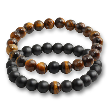 2 Pcs/set Fashion Couple Tiger Eye Stone Bracelets