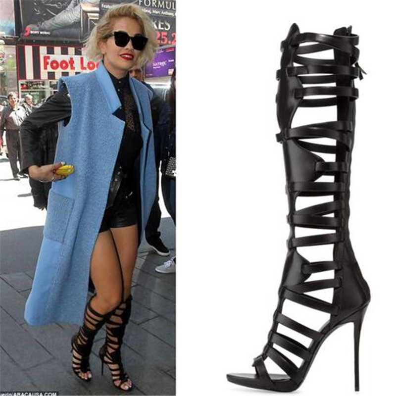 8fdea8fed2 Black Leather Knee High Gladiator Sandals Women Boots Stiletto High Heels  Cage Cut Out Summer Motorcycle Boots Shoes Woman Bota -in Knee-High Boots  from ...