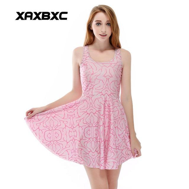 Xaxbxc Plus Size Fashion Women Summer Reversible Pleated Dress Sexy