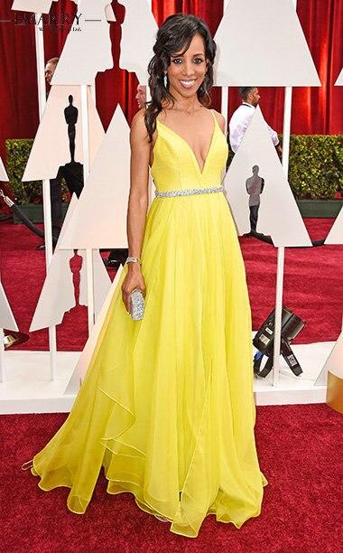 Academy Awards желтые вечерние платья для беременных 2018 шифоновые элегантные платья для выпускного с v-образным вырезом и поясом Vestidos De Fiesta XXY351