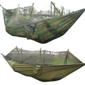 260x130cm Portable Outdoor Garden Army Green/Camo High Strength Parachute Fabri Camping Mosquito Hammock with Mosquito Nets