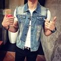Mens Denim Vest 2016 New Brand Jeans Vests Men Slim Fit Sleeveless Jacket M-3XL size Patchwork Waistcoat Gliet Men 2 color