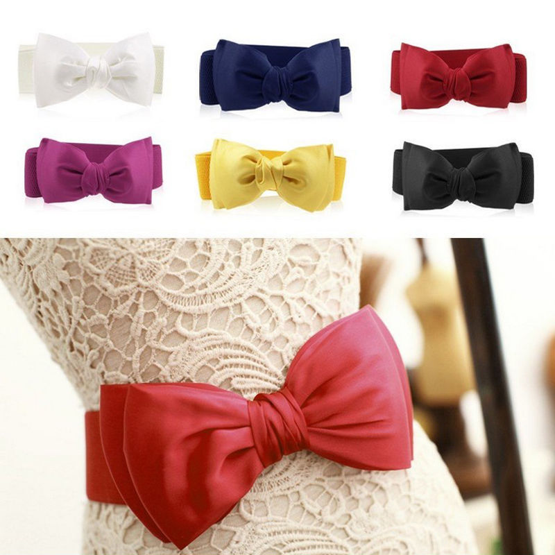 1 Pc Girl Women Elastic Wide Stretch Buckle Bowknot Bow Waistband Waist Belt Accessories