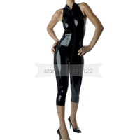 Front Zip Black Female Latex Catsuit Sleeveless and Short Legs Rubber Bodysuit NRLC011