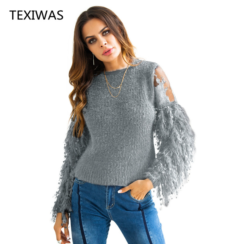 TEXIWAS Fashion Sequined tassel sweater women autumn warm perspective embroidered sweater lace patchwork knit sweater pullover
