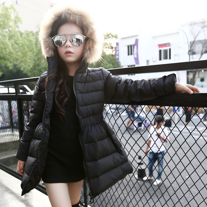 Children Girls Winter Coat New 2017 Fashion Fur Hooded Thick Cotton Down Warm Clothes Solid Long Kids Parka Jacket Outwears