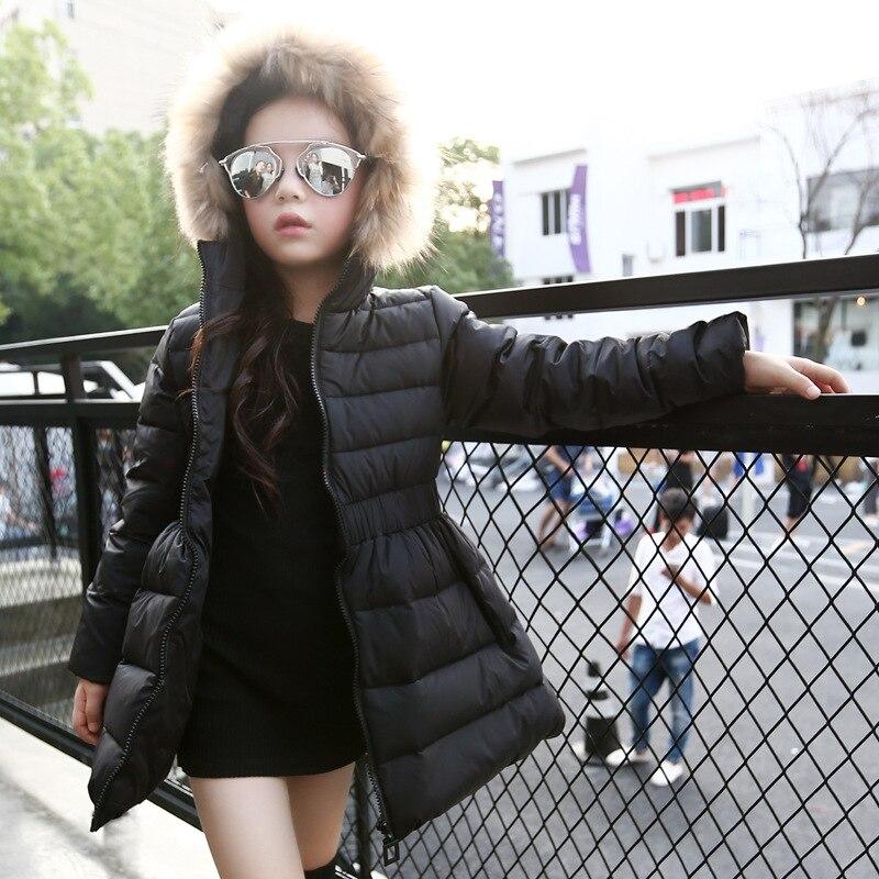 Anne ve Çocuk'ten Şişme Kıyafet ve Parkalar'de Çocuk Kız Ceketler Kış uzun kaban Ceket Kız Için Moda Çocuk Kürk Kapüşonlu Kalın Pamuk Aşağı Sıcak Katı Çocuk Parka Ceket title=