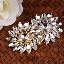 2 pcs 5 cm Sun Flower Crystal Rhinestones Shank Buttons Gold Silver Coat Button Sewing Crafts