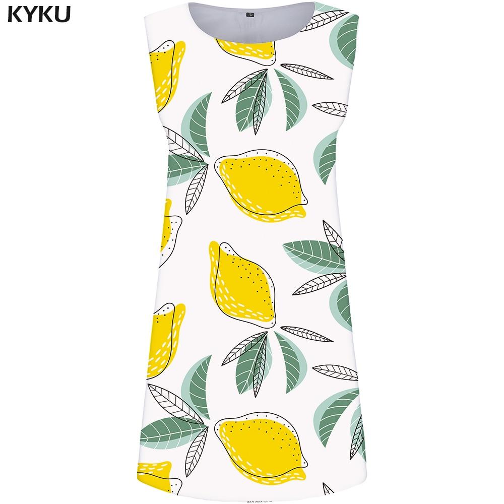 KYKU Lemon Dress Women Leaf Office Sundress White Fruit 3d Print Dress Tank Ladies Dresses Sexy Boho Elegant Womens Clothing New in Dresses from Women 39 s Clothing