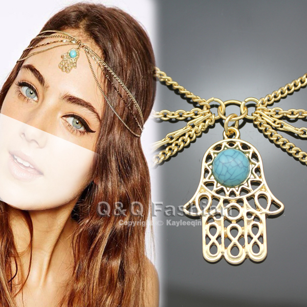 Arabian Gold Hamsa Hand Fatima Turkey Blue Stone Chain Tikka Grecian Crown Head Hair Dress Piece Band Jewelry Party 2018 New In From