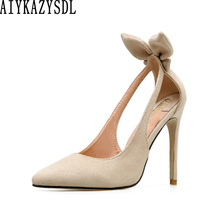 c89031445aeb AIYKAZYSDL Women Fashion Cut Out Pumps Flock Faux Suede High Heels Bow Knot  Bow-tie