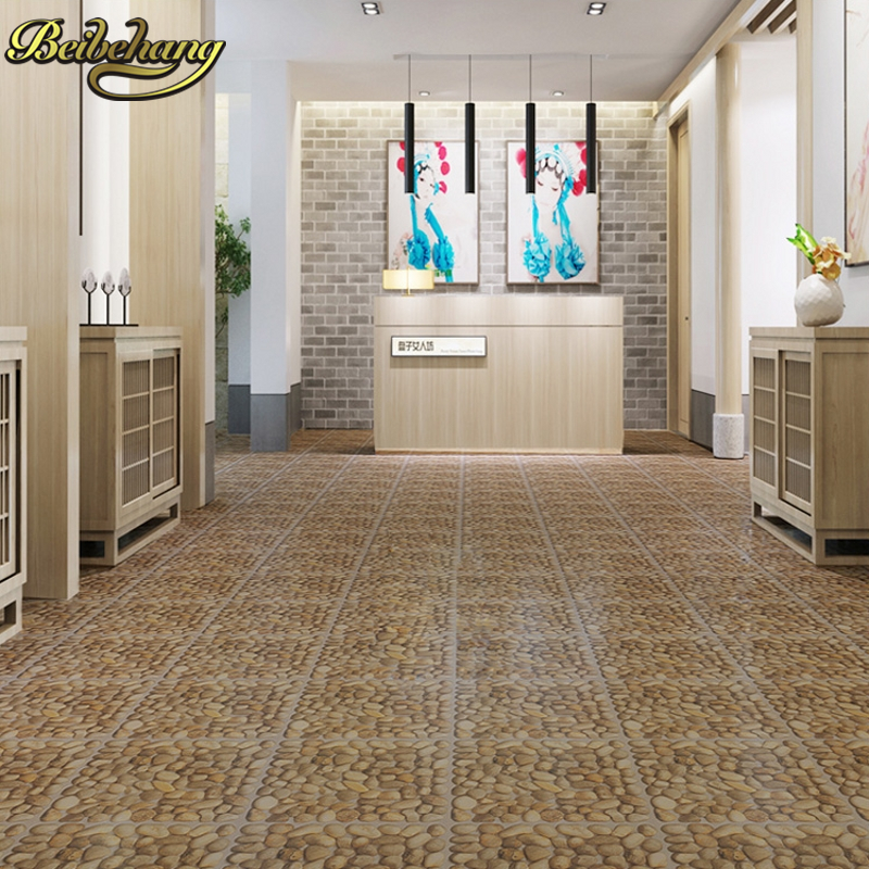 beibehang 11 PCS Flooring leather self-adhesive flooring floor thicker wear-resistant bedroom plastic 3d floor tiles wallpaper free shipping river stone waterfalls 3d floor tiles wear non slip moisture proof bedroom living room kitchen flooring mural