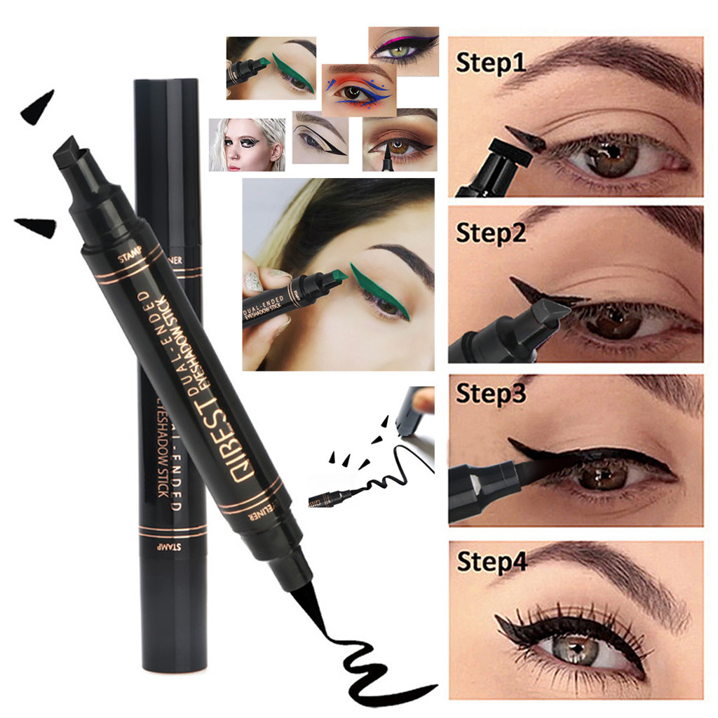 1pc Double-headed Seal Black Eyeliner Triangle Seal Eyeliner 2-in-1 Waterproof Eyes Make Kit With Eyeliner Pen New Sufficient Supply Back To Search Resultsbeauty & Health