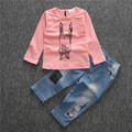 2016 Spring Autumn new girls long-sleeved cartoon rabbit t-shirt+denim trousers 2 piece leisure suit set