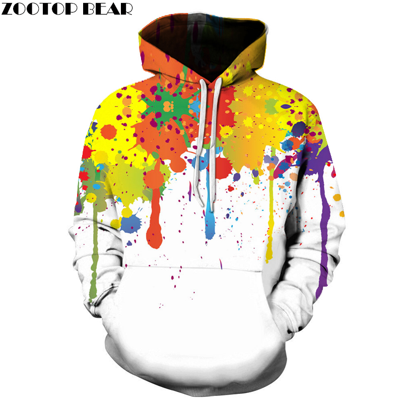 Splash Ink Women Men Hoodies Multicolor 3D Printed Loose Autumn Sweatshirts Unisex Pullover Fashion Winter Tracksuits WAIBO BEAR