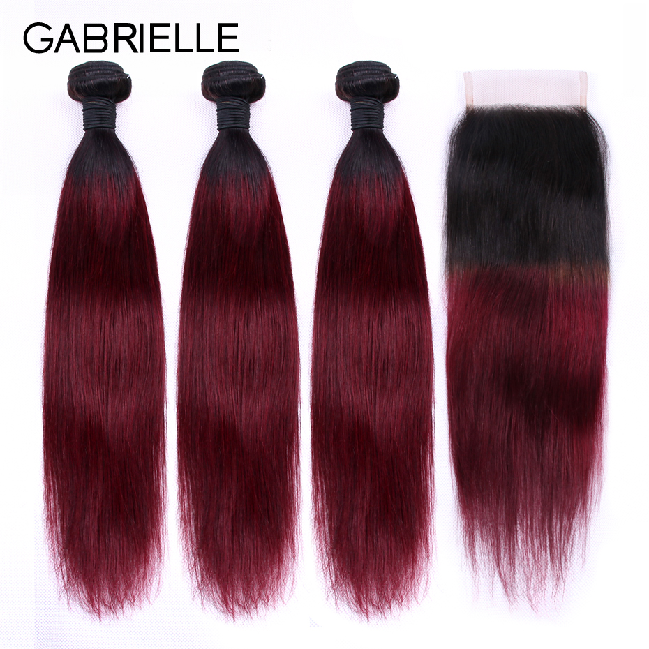 Gabrielle ombre hair bundles with closure T1B/99J Brazilian Straight Human Hair Weave Bundles Non-remy Hair Extensions Burgundy