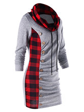 Wipalo Hotsale Spring Autumn Winter Plaid Drawstring Cowl Neck Tunic Sweatshirt Dress Button Embellished Slim Dress M-2XL