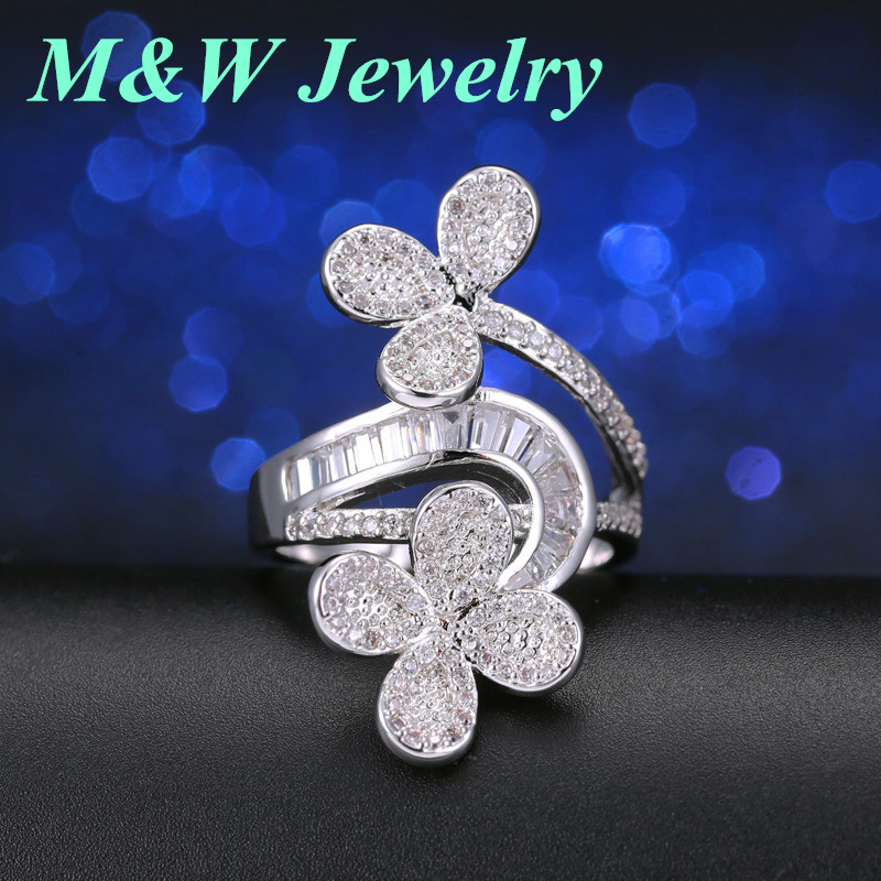 M&W 2017 Fashion Brand Ring Hot Selling for Womens Ring Jewelry CZ Vintage Leaf M & WL3800
