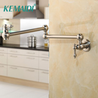 KEMAIDI BrusheD Nickel Pot Filler Double Joint Spout Folding Stretchable Swing Arm Kitchen Faucets Black Kitchen Sink Faucet