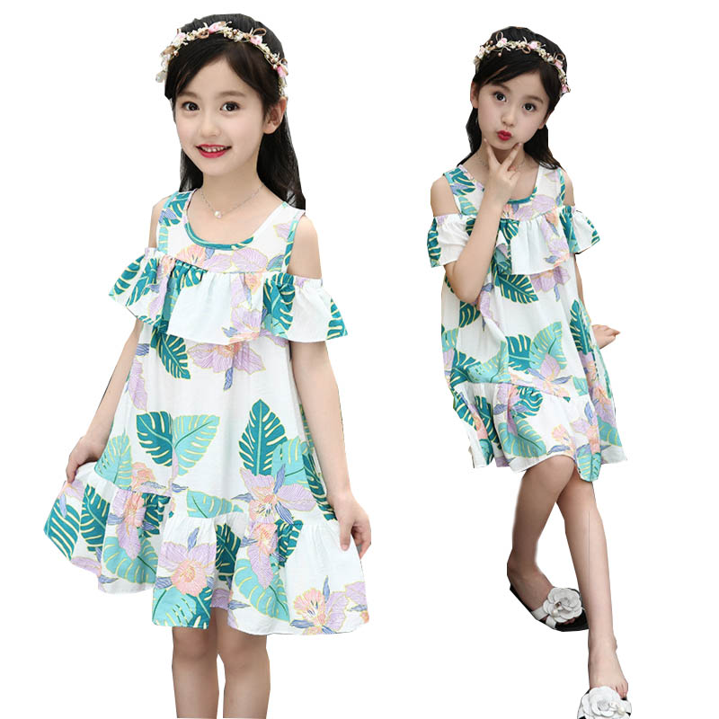 Girls Dress Summer Kids Dresses for teenagers Girl Clothes Leaves Print Princess Dress 5 6 7 8 9 years Children Clothing Kids kids dresses clothes summer 2017 girl dress princess dress girls children clothing floral print toddler dress 5 6 7 8 9 10 years