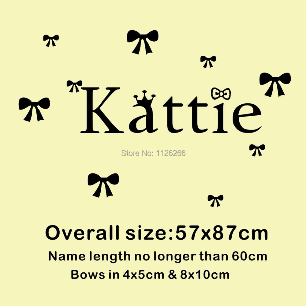 Custom Personalized Girls Name Wall Decals Butterfly Knot Wall ...