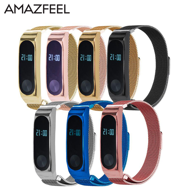 AMAZFEEL Magnetic lock Strap For Xiaomi Mi band 2 Bracelet Metal Mi Band 2 Strap Wrist For Miband 2 Wristbands Mi Band 2 Strap