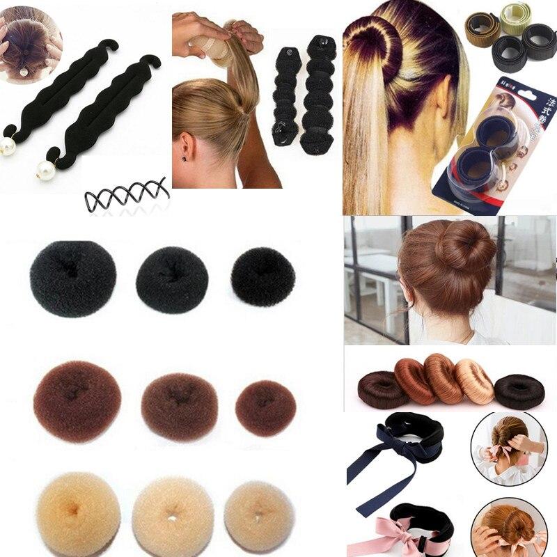 Girls Headwear Hair Braider Tool  Roller Styling MagicTwist Maker Ring Fast Bun Donut Women Hairband Black Hair Accessories