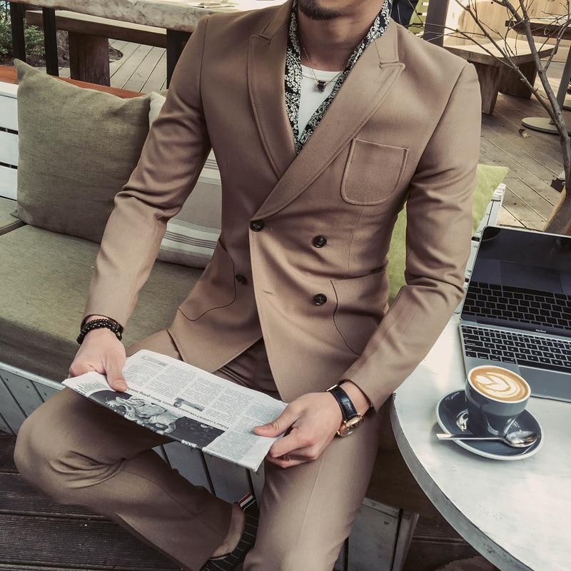 Schwarzes dark Qualität Dunkelgrün Männer Hohe Zweireiher Jacke Koreanische Schwarz kakifarbig Blazer Hochzeit Green Stretch Dünne Vintage Anzüge Zweiteilige Anzug ZqvEdEaxw