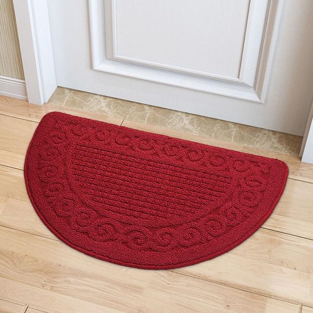 Solid Color Semi Circular Shape Carpet Absorbent Slip Resistant Kitchen Mat  Door Bathroom Stairs