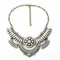 Новинка ювелирные изделия из самых горячих оптом преувеличены Фигаро белое стекло акрил Античное золото Ожерелье