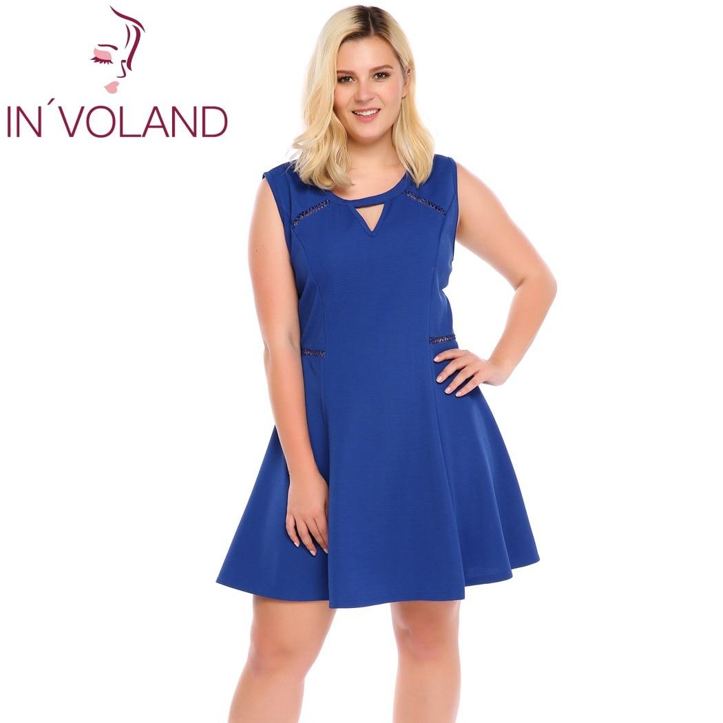 IN'VOLAND Women Dress O Neck Sleeveless Hollow Out Keyhole Cocktail Party Skater Minin Dresses Feminino Vestidos Plus Size 5XL