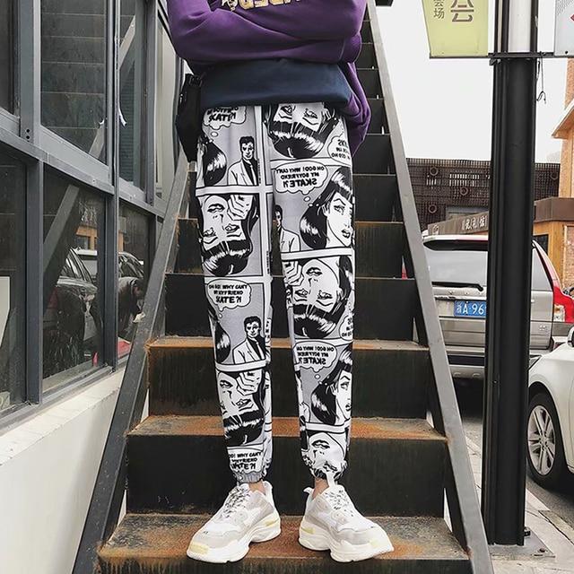 Thể Thao Giản Dị lỏng Quần Người Đàn Ông của Chùm Chân Hậu Cung Quần Comics In Chạy Bộ Quần Mens Hip Hop Quần Tây Giản Dị