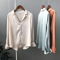 2018 Fashion Woman Imitation Satin Blouses Long Sleeve Vintage Femme V Neck Street Shirts Tops Plus Size