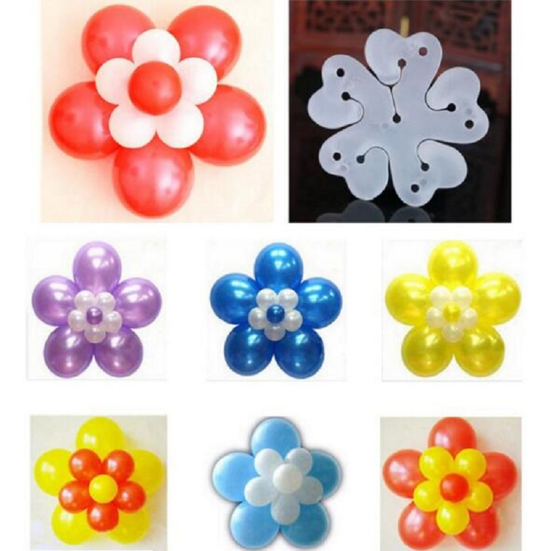 10pcs Balloons Modelling Clip for Party Decorations Double Flower Balloon Clips Latex Helium Balloon Accessories Sealing Clip