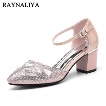 цена на Beading Shoes Dress Pumps Genuine Leather Med Heel Pointed Toe Square Heels Spring Classic Office Lady Sandals Shoes YG-A0056