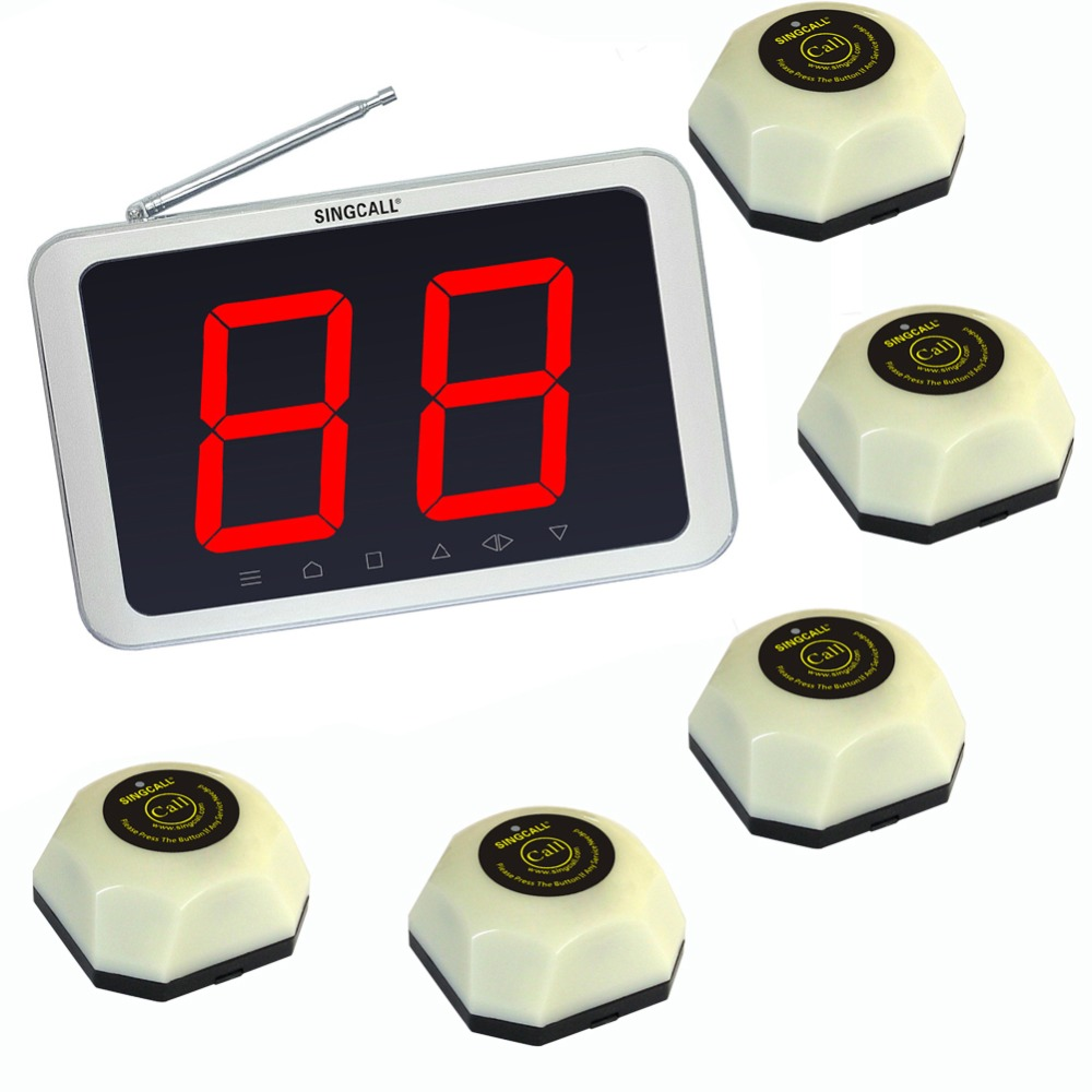 Singcall. wireless table bell call button, 5 white single button bells and 1 white receiverSingcall. wireless table bell call button, 5 white single button bells and 1 white receiver