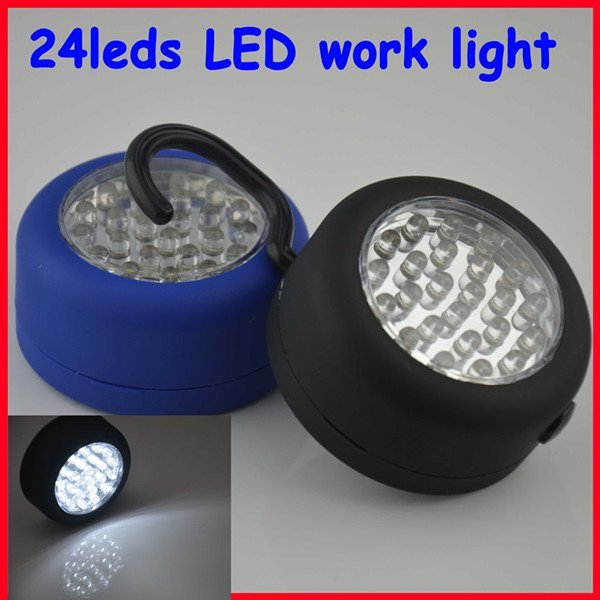 Free Shipping !  4 pieces/lot  Black Cover Portable 24 Leds LED Work Light Hook Flashlight with Magnet & Hook