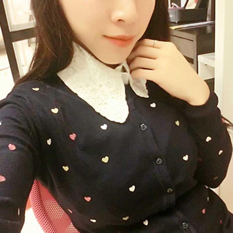 เสื้อปลอมคอสีขาวและสีดำ Tie VINTAGE ถอดออกได้ False COLLAR เสื้อผู้หญิงด้านบนเสื้อผ้าอุปกรณ์เสริม