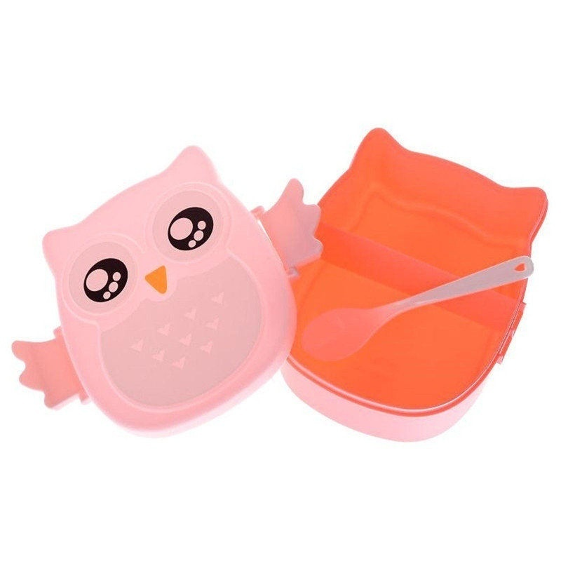 Urijk Students Lunch Box with Spoon Food Container 900ml Kids Bento Box Camping Picnic Storage Cute Owl Pattern Portable