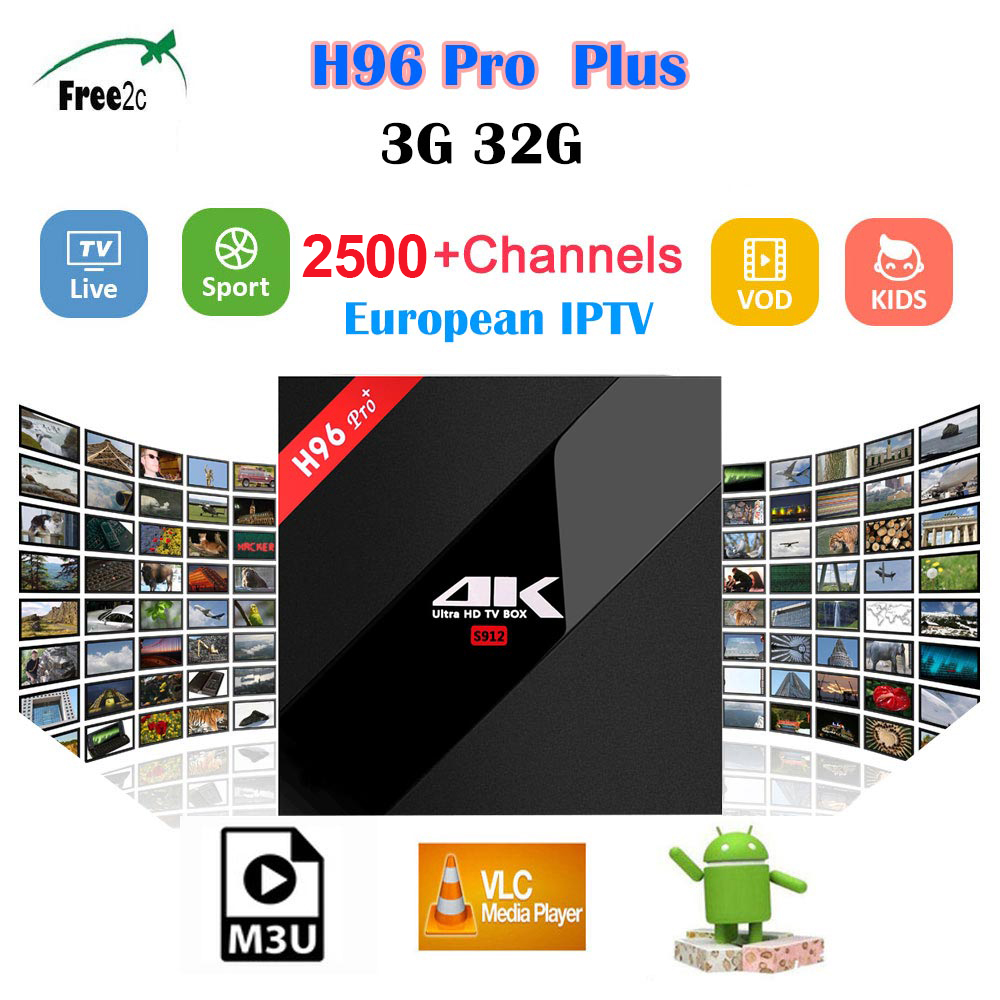 H96 PRO PLUS Android 7.1 TV Box BT4.1 4K  Amlogic S912 Octa Core 3G/32G H96 pro plus media player 2500+Live Europe French  IPTV