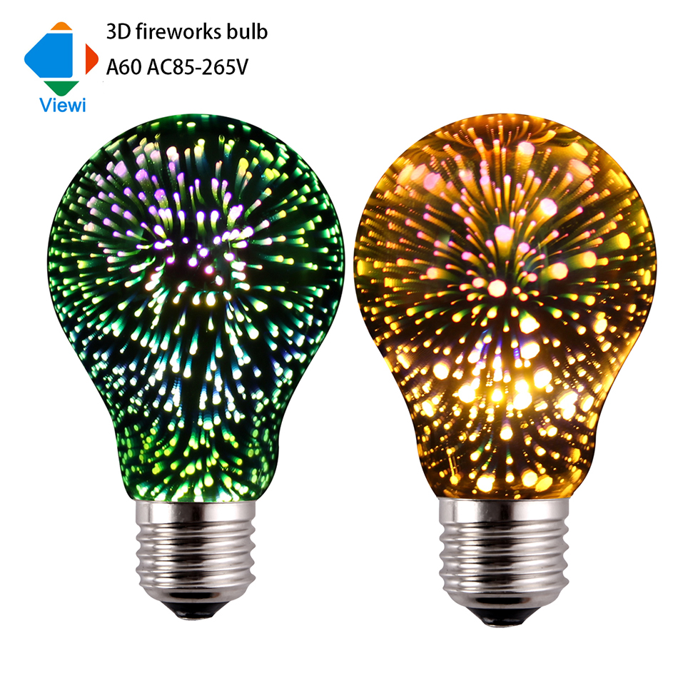 Viewi 3D led Fireworks bulb A60 3.5W decoration holiday light Silver Plated Glass lampada for christmas Ac86-265v colorful lampe led light bulb edison 3d decoration silver holiday christmas decoration night bar glass led lamp 3w 5w candle lamparas bombillas