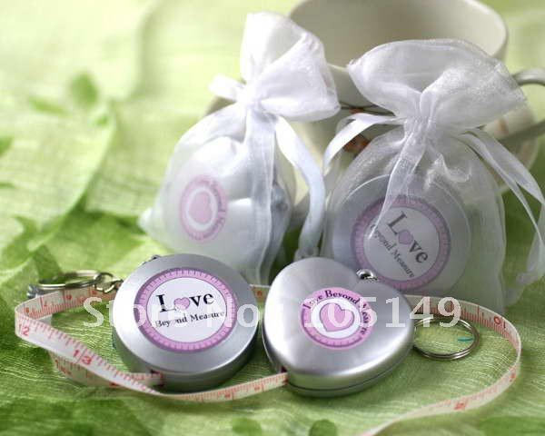 30 Pieces lot Love Heart Wedding gift Love Beyond Measure Measuring Tape Keychain wedding guest