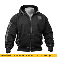 Thin Fitness Hooded Sweatshirt Black Big Pocket Hoodie Men Bodybuilding Gym Sweatshirt For Men Zipper Long Sleeve Hoodies